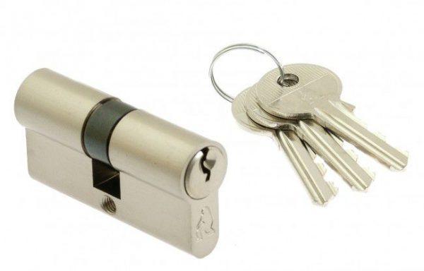 Hengerzárbetét 3 kulccsal, selyemfényű nikkelezett, ipari kiszerelésben LOB ASSA ABLOY YETI 40/40