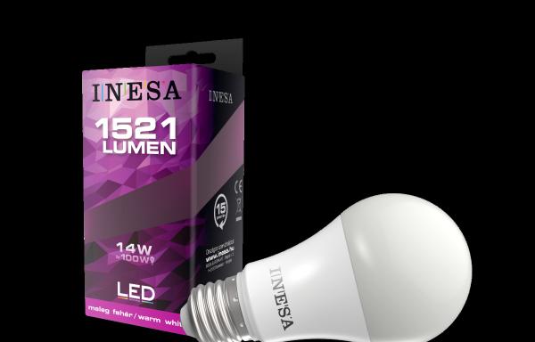 LEDégő, E27 kerek 14W 180′ 1521Lm 3000K