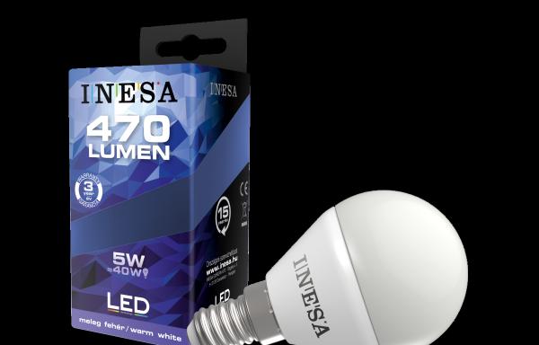 LEDégő, E14 kerek 5W 160′ 470Lm 3000K