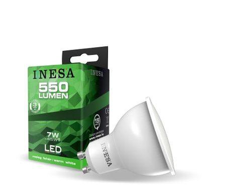 GU10 LED égő, irányfény, hagyományos foglalatba illő 7W 550Lm 3000K 105′