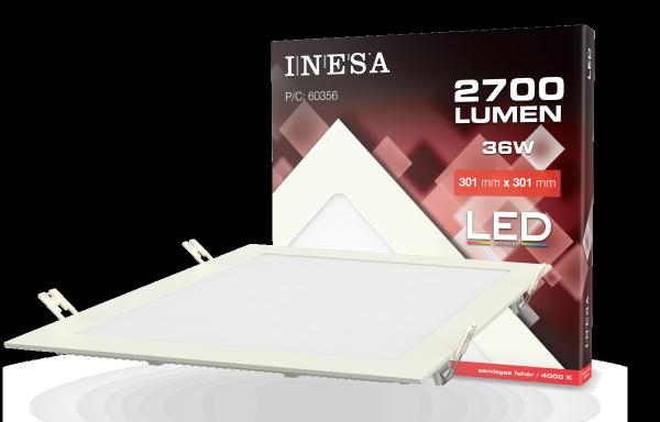 LED mennyezetvilágítás, négyszög panel 300×300 36W 2700Lm 4000K