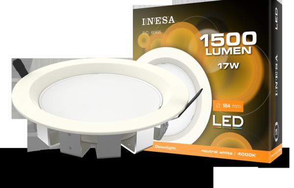 MQ603 17W 95° LED mennyezetvilágítás, mélysugárzó, köralakú panel4000K
