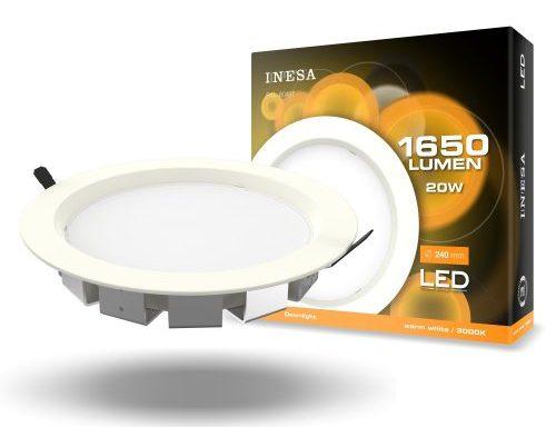 MQ603 20W 100° LED mennyezetvilágítás, mélysugárzó, köralakú panel 3000K