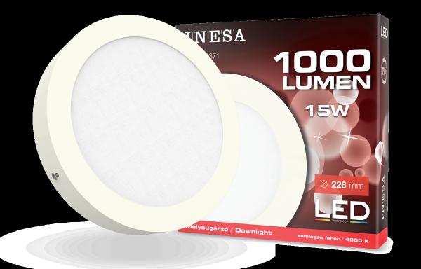 LED mennyezetvilágítás, mélysugárzó, köralakú panel15W 1000Lm 4000K
