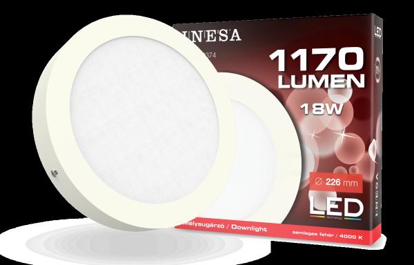 LED mennyezetvilágítás, mélysugárzó, köralakú panel18W 1170Lm 4000K
