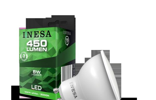GU10 LED égő, irányfény, hagyományos foglalatba illő 6W 105′ 3000K 450Lm
