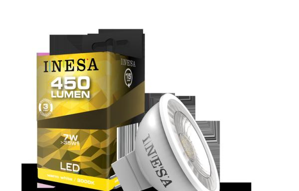 MR16 7W LED égő, irányfény, hagyományos foglalatba illő 38′ 3000K 450lm
