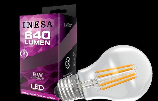 LEDégő, E27 fényszálas, kerek 5W 2700K 640 Lm