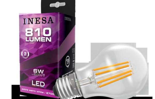 LEDégő, E27 fényszálas, kerek 6W 2700K 810 Lm